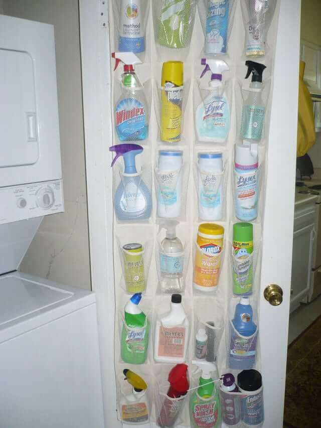 Shoe Rack With Cleaning Supplies