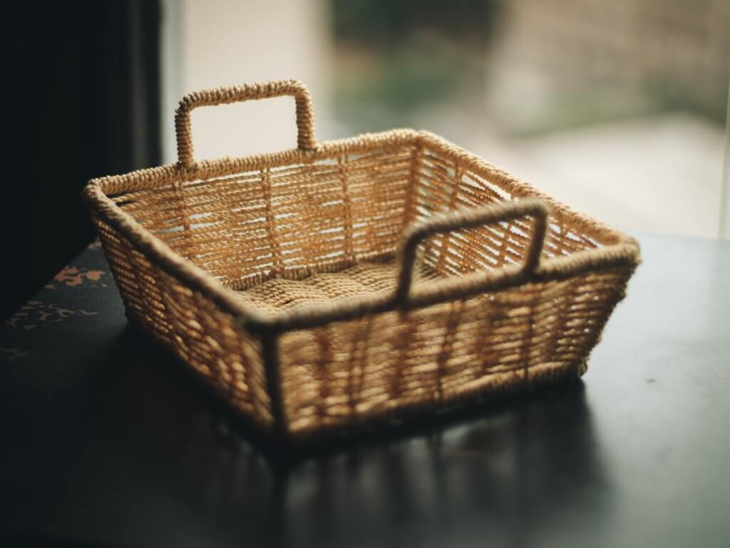 square brown wicker basket on table 2113125 1024x768