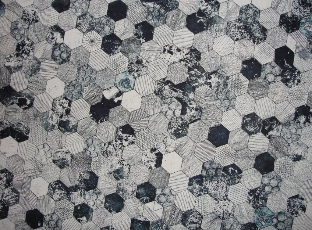 gray and black hive printed textile 691710 1024x754