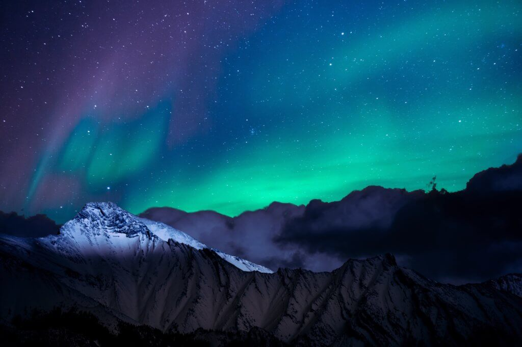 landscape photo of mountain with polar lights 1434608 1024x681